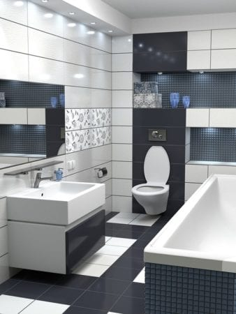 Black and white bathroom: design details